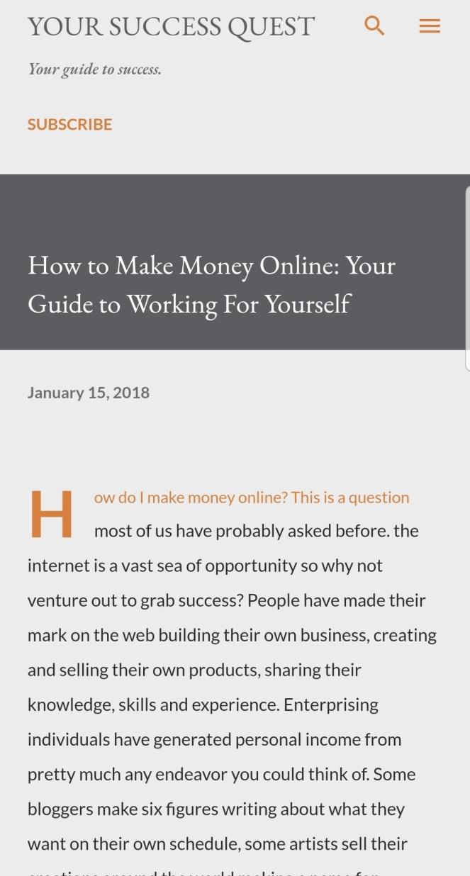 Make money online blog article